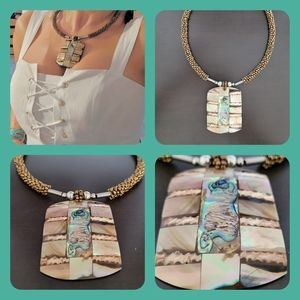 Patchwork Abalone & mother of Pearl necklace